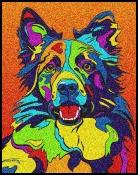 Border Collie -  Michael Vistia Dog Punch Needle Pattern & Dog Punch Needle Kits