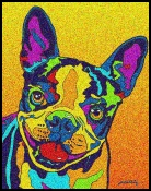 Boston Terrier - Michael Vistia Dog Punch Needle Pattern & Dog Punch Needle Kits