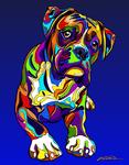 Boxer - Michael Vistia Dog Rug Hooking Pattern & Dog Rug Punching Pattern
