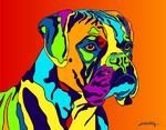 Boxer 2 - Michael Vistia Dog Rug Hooking Pattern & Dog Rug Punching Pattern