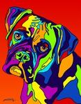 Boxer 3 - Michael Vistia Dog Rug Hooking Pattern & Dog Rug Punching Pattern