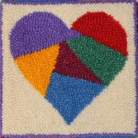 Crazy Heart -2 - Bee Skep Rug Punching Kit