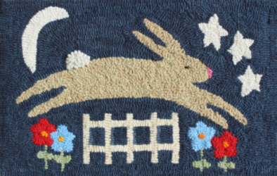 Evening Romp  - Bunny Rug Hooking Pattern and Rug Hooking Kit
