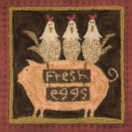 Fresh Eggs - Pig Punch Needle Pattern Hen Punch Needle Pattern