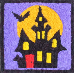 Haunted House  - Halloween House Rug Hooking Pattern and Rug Hooking Kit