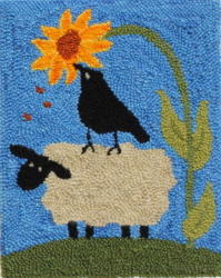 Helping Ewe - Sheep Rug Punching Pattern or Rug Punching Kit