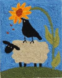 Helping Ewe - Sheep Rug Punching Pattern or Rug Punching Kit