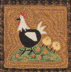 Henny Penny, Chicks and Roo - - Punch Needle Pattern or Punch Needle Kit