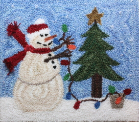 Holiday Lights - Holiday Snowman Punch Needle Pattern or Punch Needle Kit