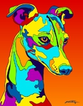 Italian Greyhound - Michael Vistia Dog Rug Hooking Pattern & Dog Rug Punching Pattern