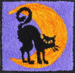 Midnight Prowl  - Halloween Cat Rug Hooking Pattern and Rug Hooking Kit