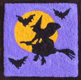 Midnight Ride  - Halloween Witch Rug Hooking Pattern and Rug Hooking Kit