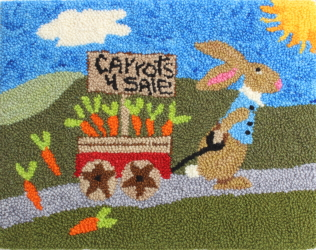 Off To Market - Rabbit Rug Punching Pattern and Rug Punching Kit