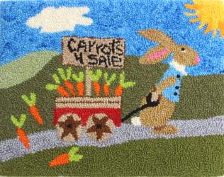 Off To Market - Rabbit Rug Punching Pattern and Rug Punching Kit