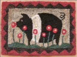 Petunia Pig - Pig Punch Needle Pattern or Punch Needle Kit