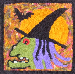 Regina Witch  - Halloween Witch Rug Hooking Pattern and Rug Hooking Kit