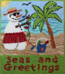 Seas and Greetings - Holiday Snowman with palm tree punch needle pattern and punch needle kit
