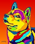 Shiba Inu - Michael Vistia Dog Rug Hooking Pattern & Dog Rug Punching Pattern