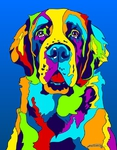 St Bernard - Michael Vistia Dog Rug Hooking Pattern & Dog Rug Punching Pattern