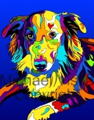Australian Shepherd 2 - Michael Vistia Dog Rug Hooking Pattern & Dog Rug Punching Pattern & Dog Rug Punching Kits