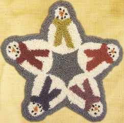 Snowman Star - Punchneedle Pattern and punchneedle Kit